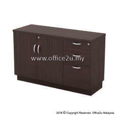 Q-YDP7123-W COMBINATION LOW CABINET (SWINGING DOOR + FIXED PEDESTAL 2D1F)